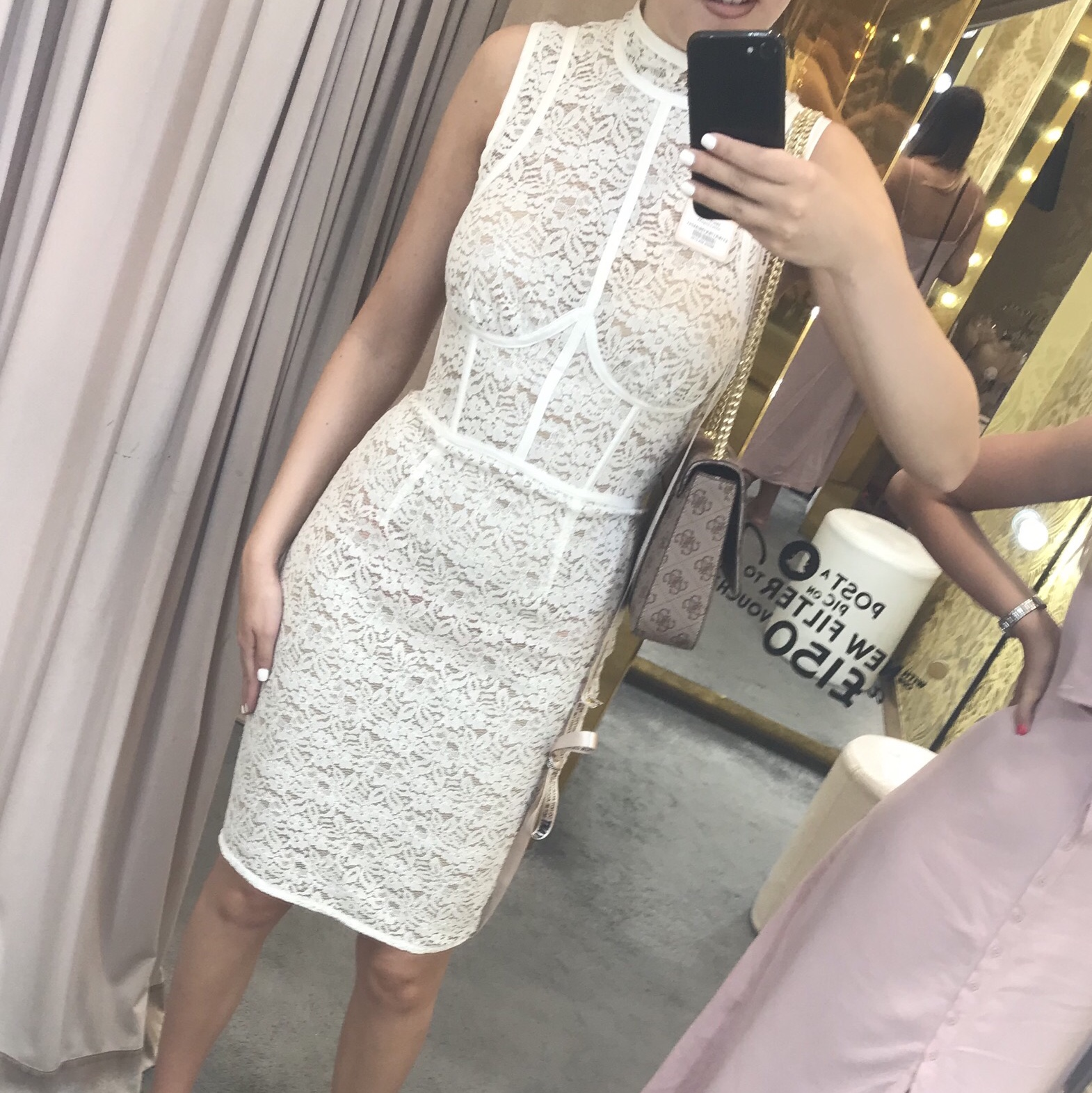 Celeb Boutique White Lace Dress Worn Once For Worn Depop
