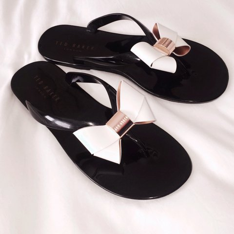 70c43cec9ac055 Brand new black Ted Baker flip flops with bows