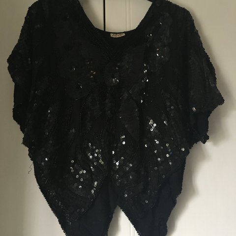 12be385d792ccb Beautiful 100% silk sequin and beaded top from India. Black - Depop