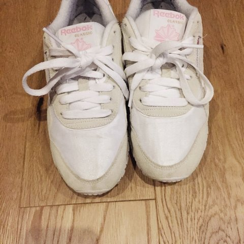 b51d65f862f19 Size 3 Reebok classics. White and beige soft suede Worn once - Depop