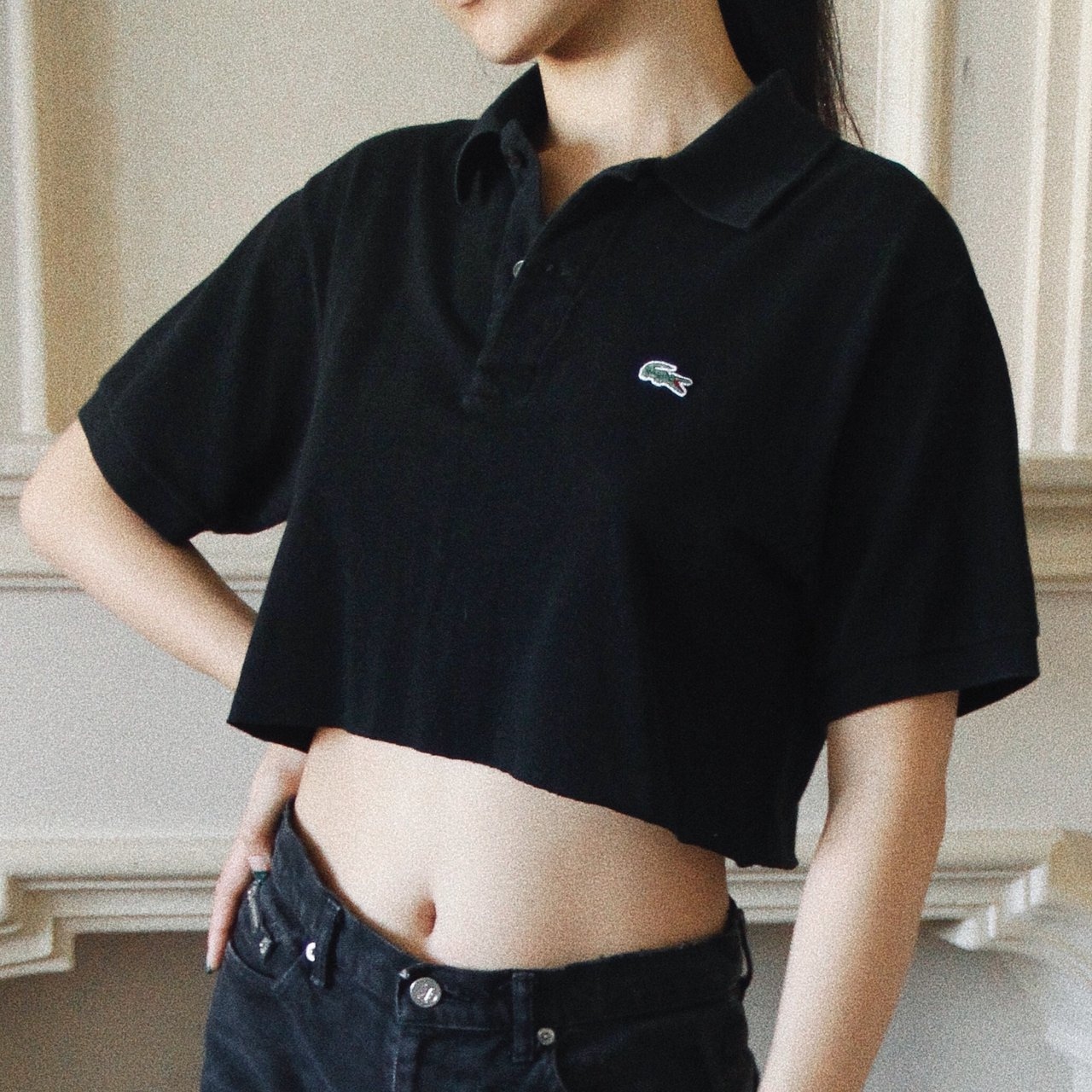 71d68a2673cb7 Lacoste cropped black polo shirt. Oversized on size S