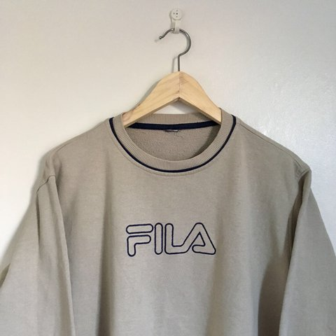 Vintage FILA sweatshirt • beige with embroidered... - Depop