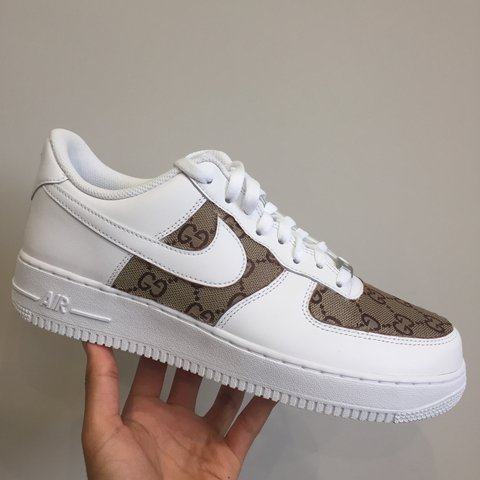 dc91fda386c1 White Deadstock Nike Air Force 1 With Box • Gucci Custom • • - Depop
