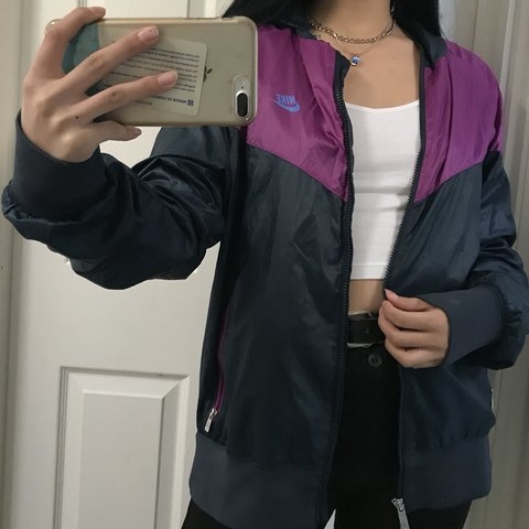 1ea0f3d8244f Trendy vintage Nike blue and purple waterproof jacket great - Depop