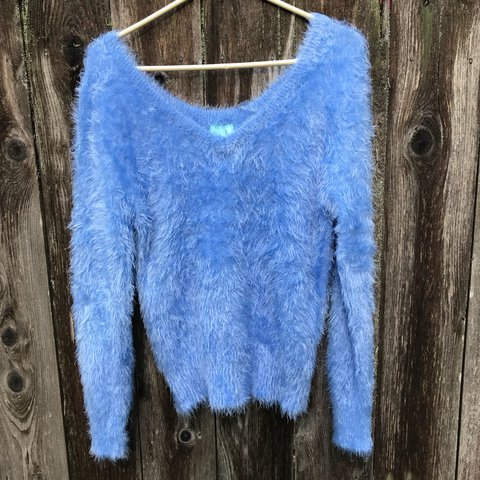 be4df6325de2 super duper soft fuzzy sweater! this baby blue beauty is of - Depop
