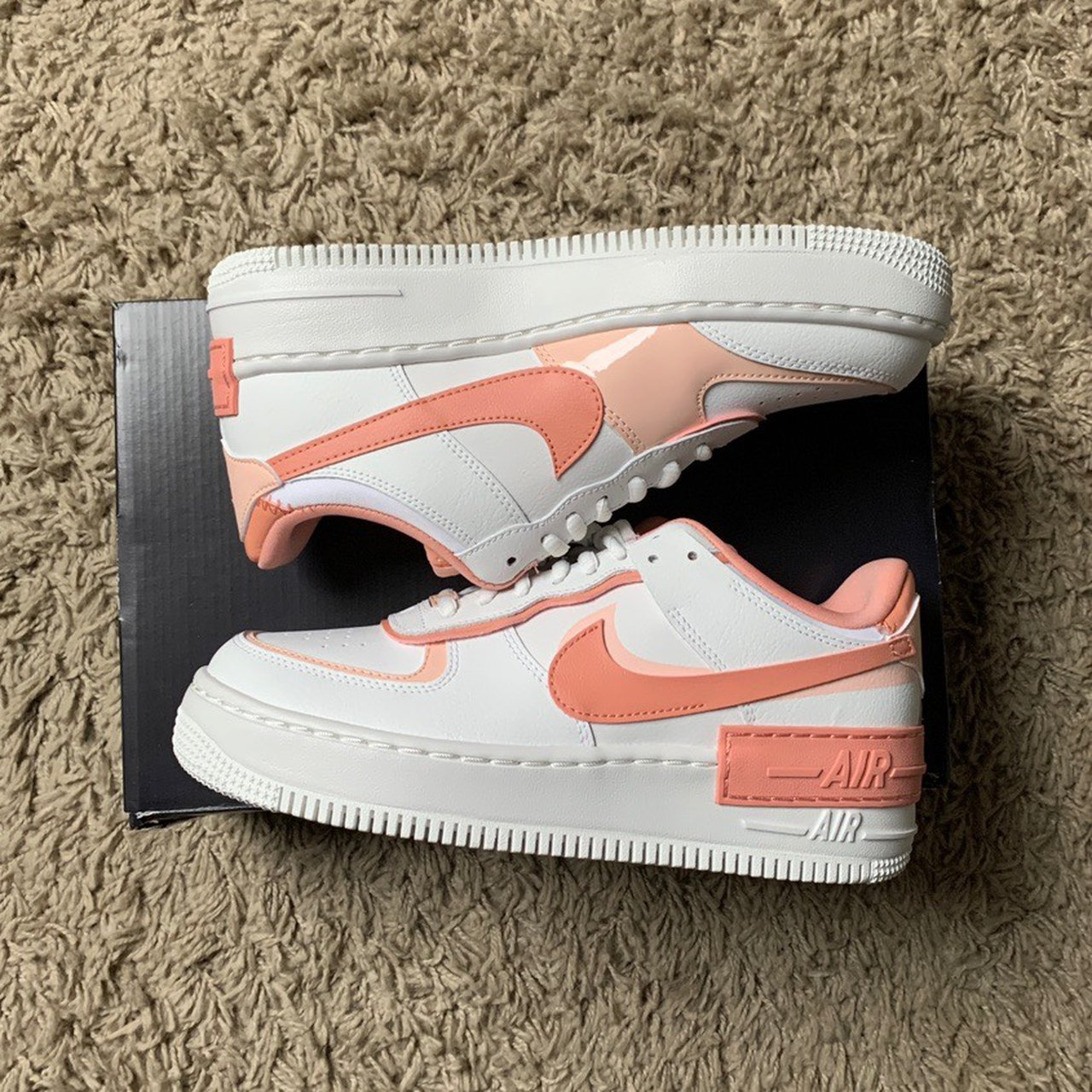 Nike Air Force 1 Shadow Summit White Pink Quartz Depop Crafted with double the swoosh and twice the overlays across the eyestays. nike air force 1 shadow summit white