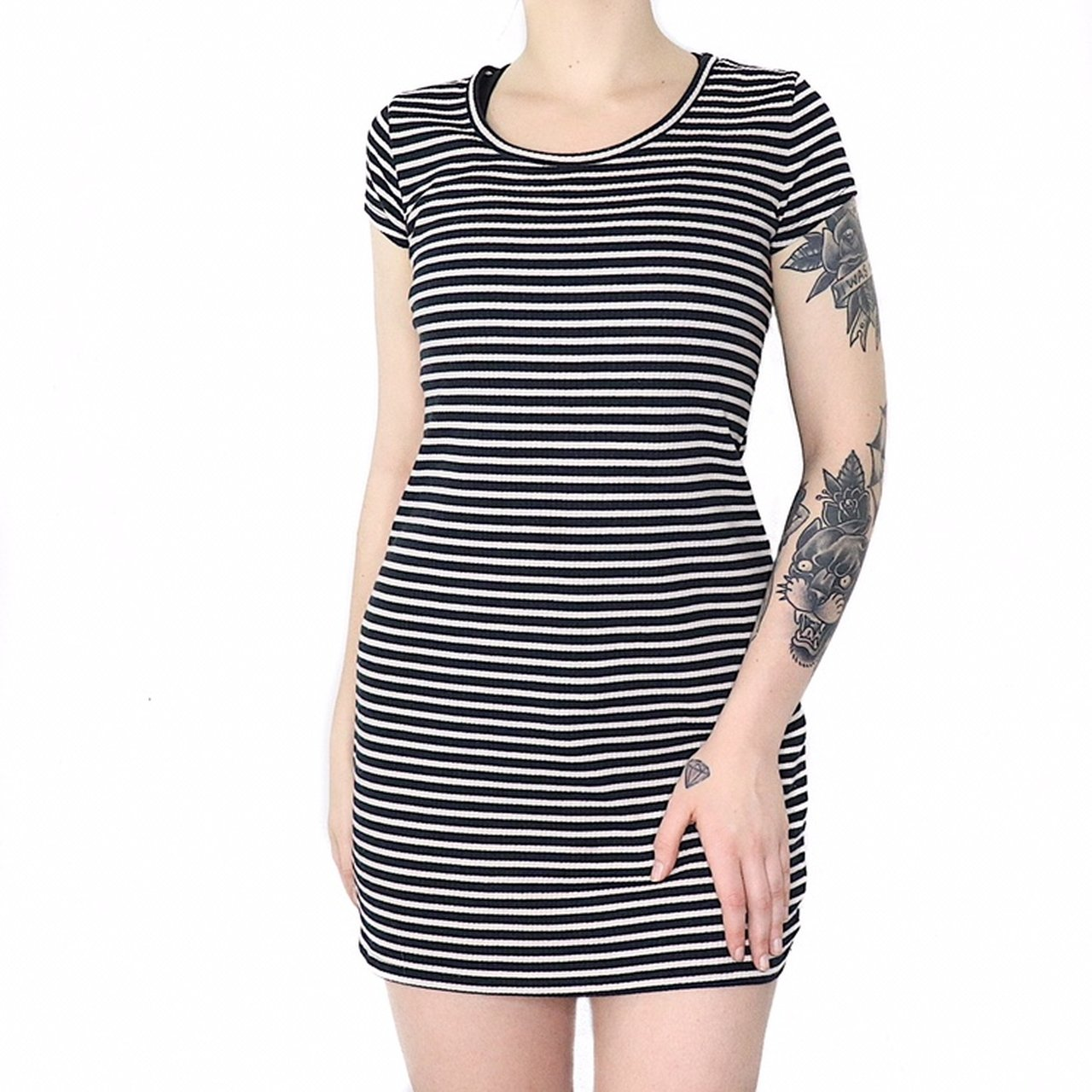 760cf142d5f9  gutter mouth. 6 days ago. United States. Navy and white striped T-shirt  dress.