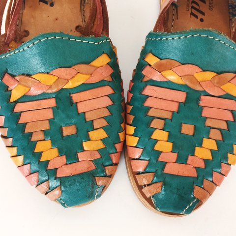 3e4e920082de Sunset colorful teal pink and yellow woven braided leather - - Depop