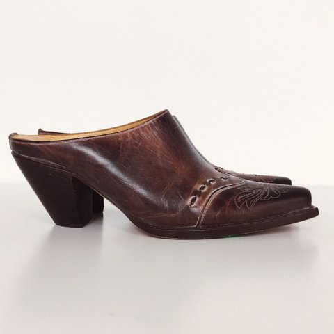 eae758e61ed Retro embossed smoky brown leather chunky heel slip on mules - Depop