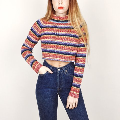 d04398dc617 @jrenner26. last year. Austin, United States. Super soft and cozy vintage  90's ribbed rainbow striped turtleneck pullover cropped knit sweater top ...