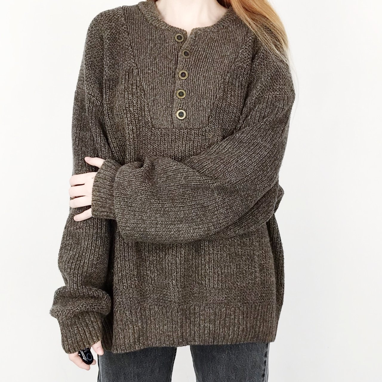 5643b2940ba8 90 s vintage oversized chunky knit textured heather brown    - Depop