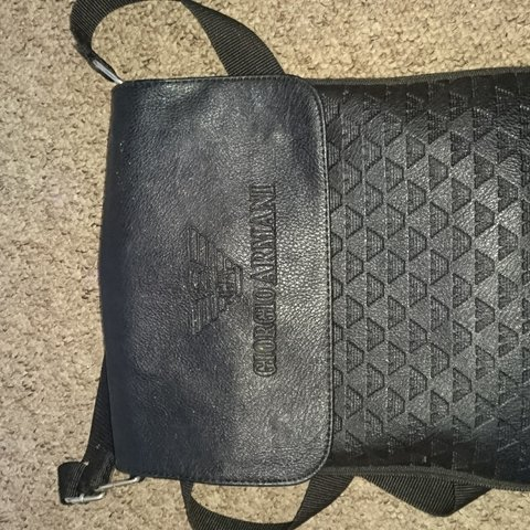 72e317a017b9 Giorgio Armani Black  man bag . Couple of specks of paint on - Depop