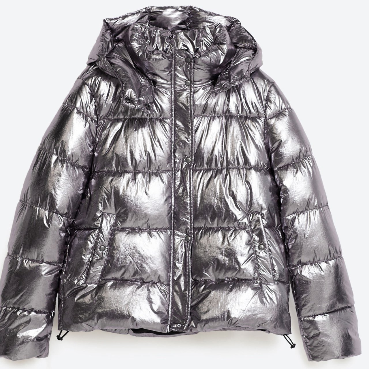 8e016f23 Sold out everywhere Silver puffer Coat from Zara. RRP to a - Depop