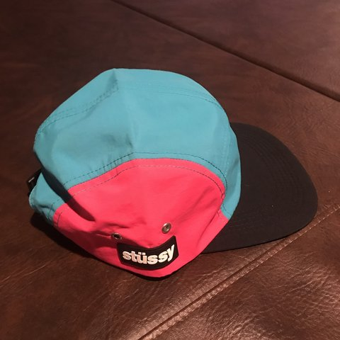 62c0b2cf Stussy side patch camp cap / teal / pink/ black / NEW WITH - Depop