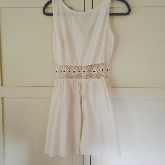 d03a3ee889470 @eviechatten. 5 years ago. Norwich, United Kingdom. Cream Topshop lace  insert crochet dress, buttons down back. Size 10, worn twice ...