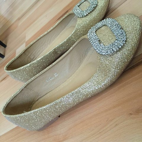 8f6f1cb3798c Cute Gold ballet pumps with Silver embroidery. Size 5