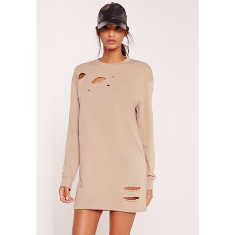 2b9f2589a7 Missguided Ripped Oversized Jumper Dress Camel. AND Suede - Depop