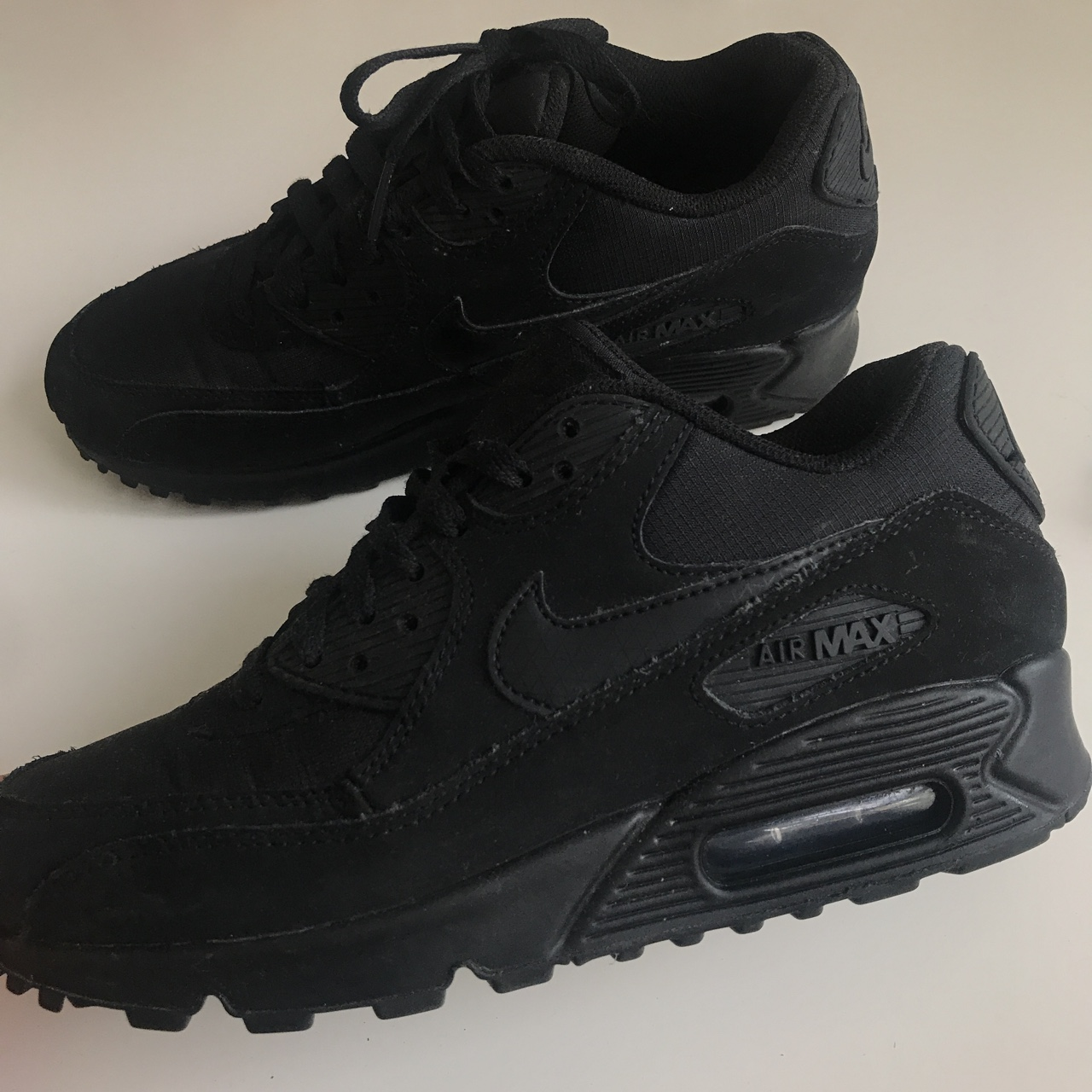 Black Nike Air Max 90 essential suede triple black. Depop