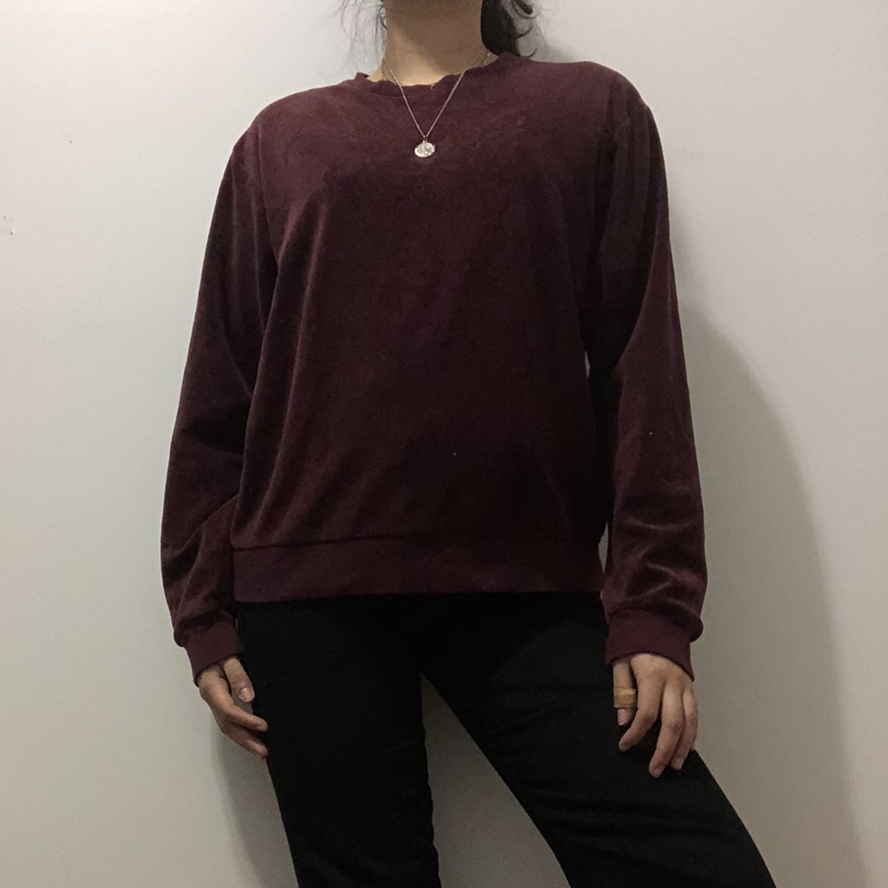 Velvet maroon crew neck sweater from American apparel! The - Depop e17c62dd8c6c