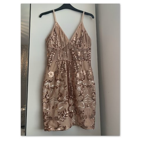 f480d9a4 @miakirk13. in 18 hours. London, United Kingdom. Rose Gold Strappy Sheer  Panel Sequin Bodycon Dress