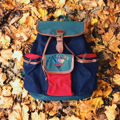 24e1bc9523b2 Vintage Colours By Antler Backpack. Rough Dimensions width 4 - Depop
