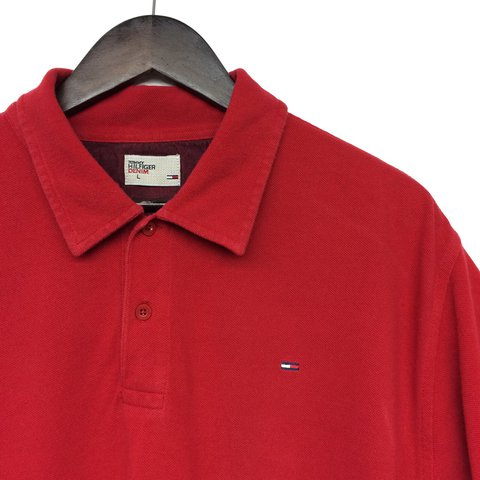 223a30f1 🔥🔥🔥NEW STOCK🔥🔥🔥Red Tommy Hilfiger Polo Shirt Size L: 2 - Depop