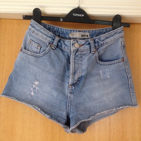 7c43424dde @zbroughton. 2 years ago. Dundee, United Kingdom. Topshop tall high waisted denim  shorts hot pants. Waist size 26
