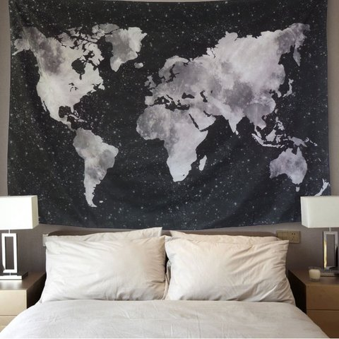 Black And White B W World Map Tapestry Perfect For Your Depop