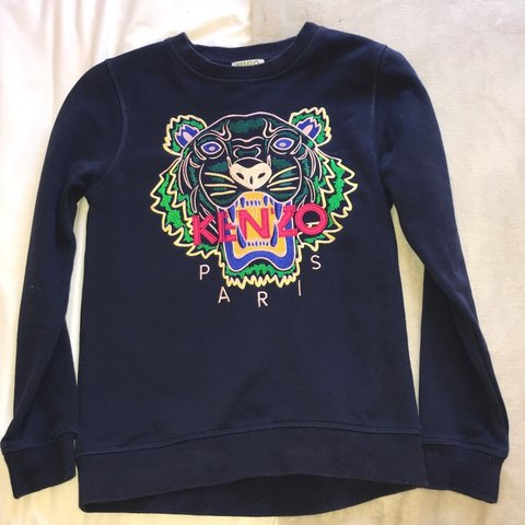 2569917084 Navy KENZO jumper!! Perfect condition as only worn 12 kids, - Depop