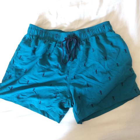 326f0cf600 Topman blue and navy swim shorts with a back pocket, tie up - Depop