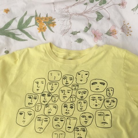 2d69743f UO Faces tshirt crop top Very cute and fun crop tshirt! and - Depop