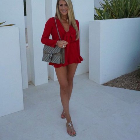 c19ae6ccf6d Red playsuit never worn size S - Depop