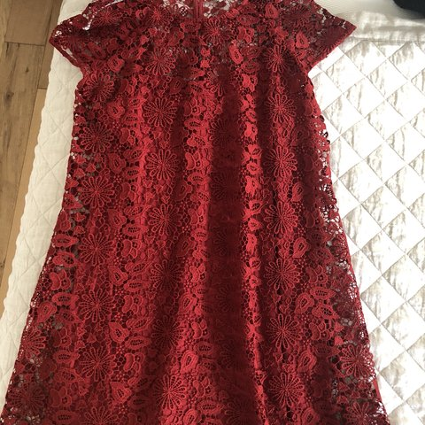 bfd3ace0ea Gorgeous Zara lace dress in a vibrant red color. In Size m, - Depop