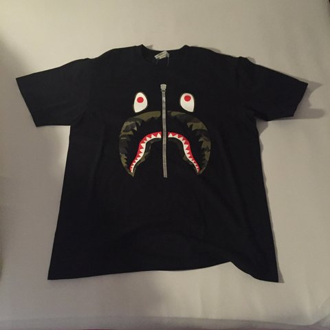 499ba78f A BATHING APE Bape Shark Mouth T-Shirt Deadstock Never Worn - Depop
