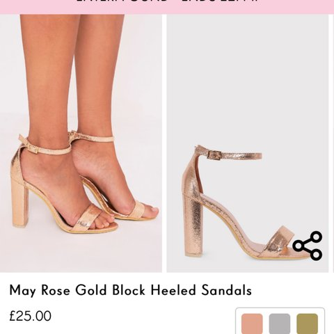 7353dc84d98 Pretty little thing size 6 rose gold block heels!! £25 only - Depop
