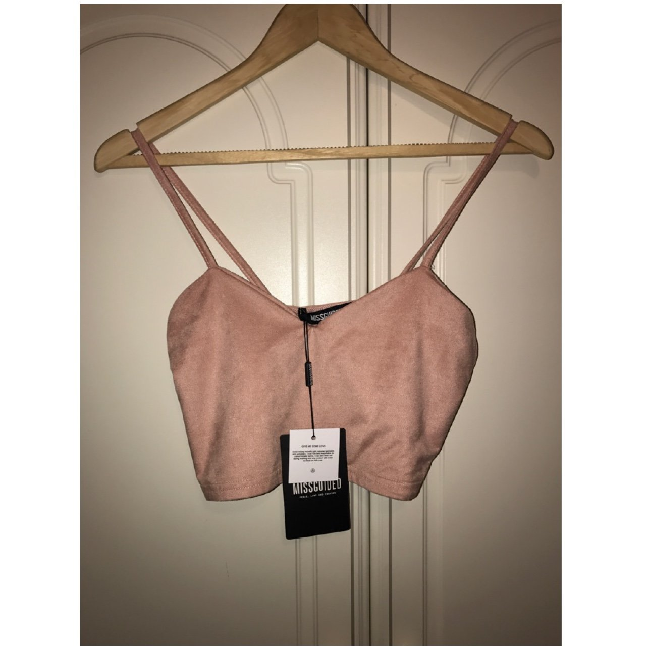 25f2bc96cdf921 MISSGUIDED brand new with tags Pink suede crop top Size + p - Depop