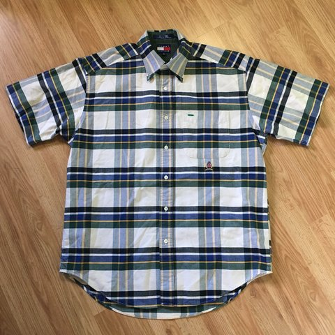 eb3c9bd2 @robertasuncion. 5 days ago. Coral Springs, United States. Vintage Tommy  Hilfiger Plaid Button Up Collared Shirt. Excellent condition. Size ...