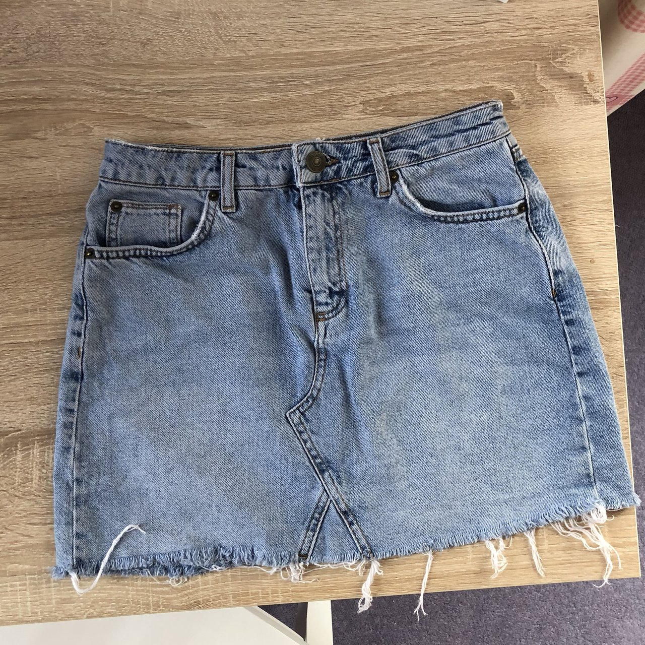 05cf52d0c3 @ameliaxhughes. 6 months ago. Cambridge, United Kingdom. REDUCED urban  outfitters BDG light blue denim frayed skirt, size ...