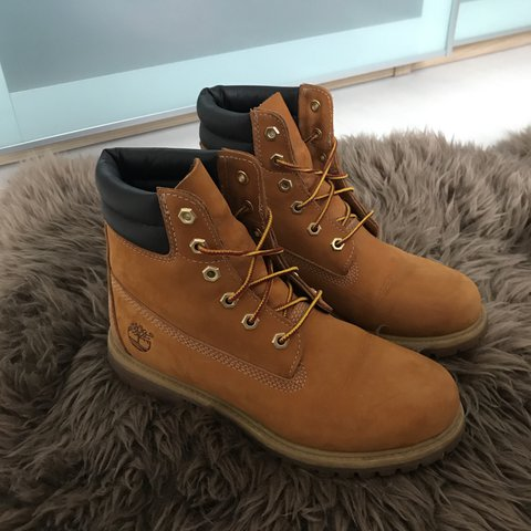 70c2fb220bd4 REDUCED!! Timberlands in the colour wheat Nubuck. UK size 6 - Depop