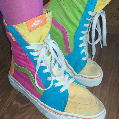 2832fce9e0 Vintage 80 s Super Awesome Neon Vans Hi Top Sneakers These a - Depop