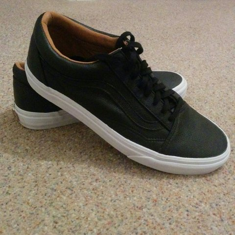 6f77863b47 Black Vans old skool leather Basically perfect condition as - Depop