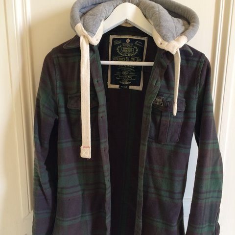 16dfb03a2 Superdry green botton-up hooded jacket. Size small, would is - Depop