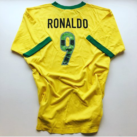 d7b0e0a0 @iconickits. last year. Hitchin, United Kingdom. Retro vintage Nike 90s  Brazil ronaldo 9 tee / Tshirt - very ...