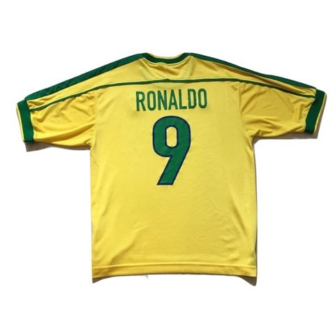 0f3e4d87 @iconickits. 2 days ago. Hitchin, United Kingdom. Retro vintage Nike Brazil  home football shirt 1998/00 Ronaldo 9 ...