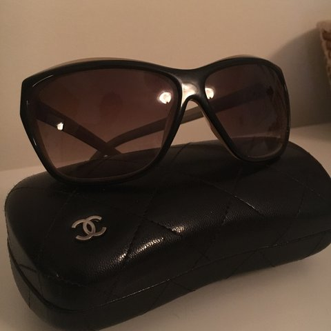 ac53cb65b00f9 Chanel black and taupe sunglasses 5153 with case  chanel - Depop
