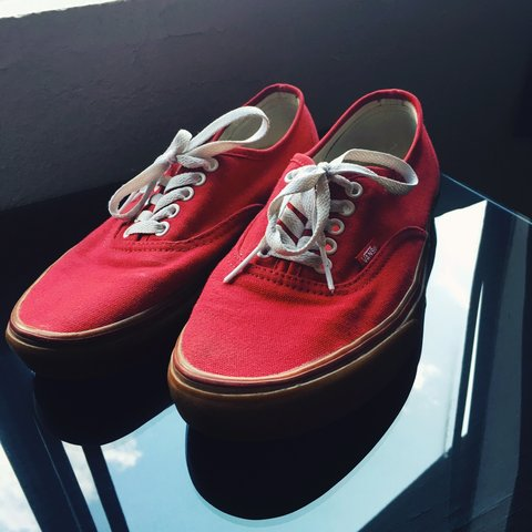 d66453444360 Red vans with a gum bottom! Vans recently stopped selling to - Depop