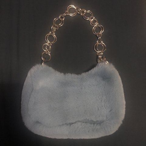 0205b69c4 @georgilucy. 2 months ago. Norwich, United Kingdom. PASTEL LIGHT BLUE FLUFFY  FAUX FUR SHOULDER BAG PURSE WITH CHAIN ...