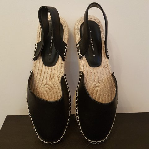c3877014c0 @from_ragstoriches. last year. Reigate, UK. Black leather espadrilles flats  from Zara. Brand new, never worn. Slingback style. Size 5.