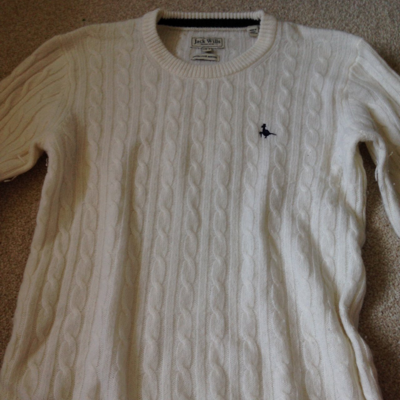 white jack wills cable knit jumper size 12 but i m a size 8 - Depop 85e0f746b