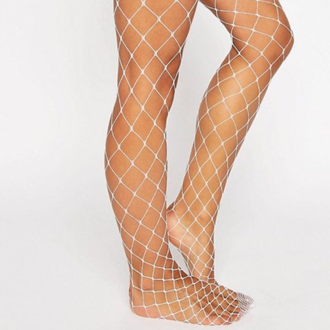7d8cb8b45b0 White large hole fishnet tights. Never been worn